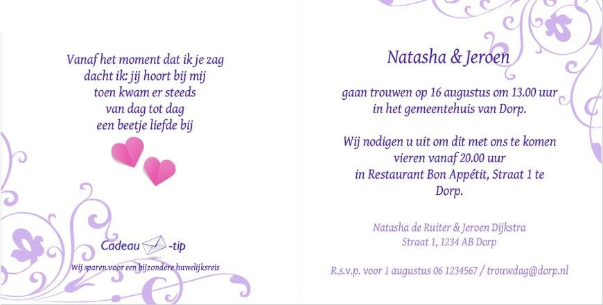 Voorbeeld teksten voor trouwkaarten fotokaarten for Toon voorbeeld