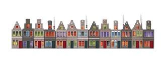 Een kaartenrand met huisjes