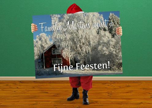 Kerstkaart met kerstman en foto
