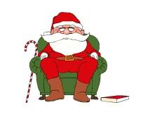 kerstman fotokaarten met boek in stoel