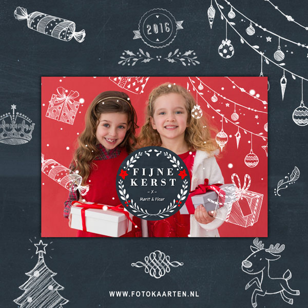 schoolbord kerst versieringen op een kerstkaart