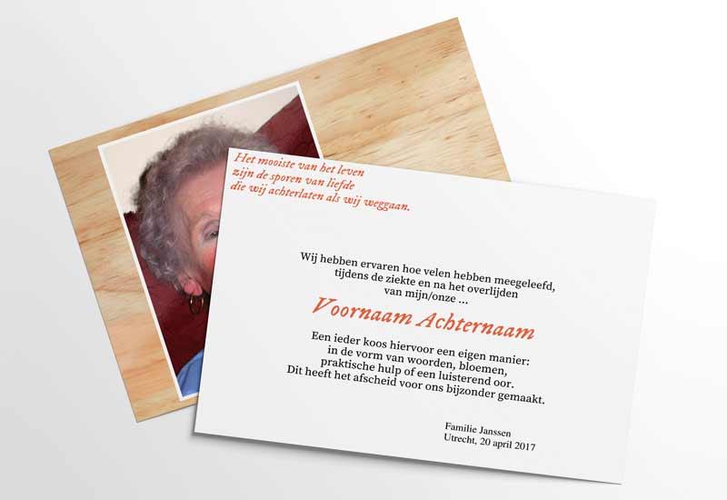 Rouwbedankkaart met foto en gedichtje