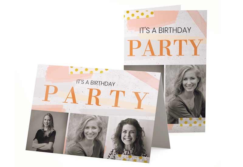 Stijlvolle Verjaardagsuitnodiging met zwartwitfoto\'s