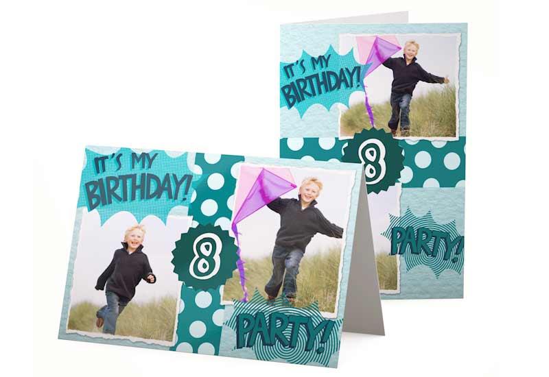 It\'s my birthday! Kaart voor kinderfeestje met 2 foto\'s