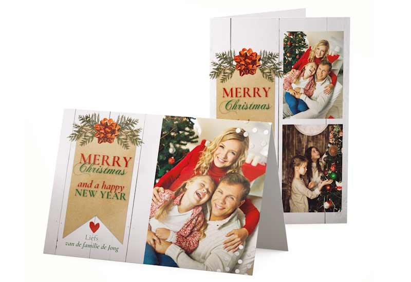 Klassieke Merry Christmas kaart met foto