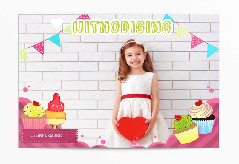 Uitnodiging Cupcake Feestje