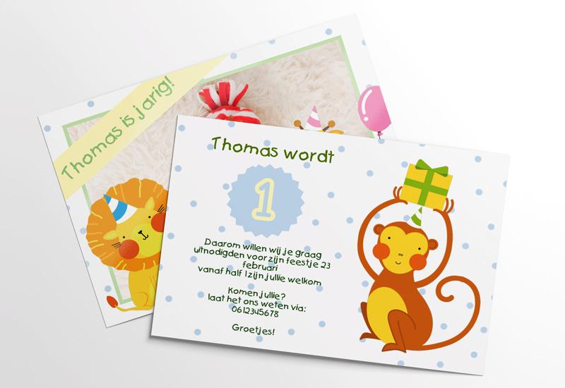 Uitnodiging met dieren voor eerste verjaardag