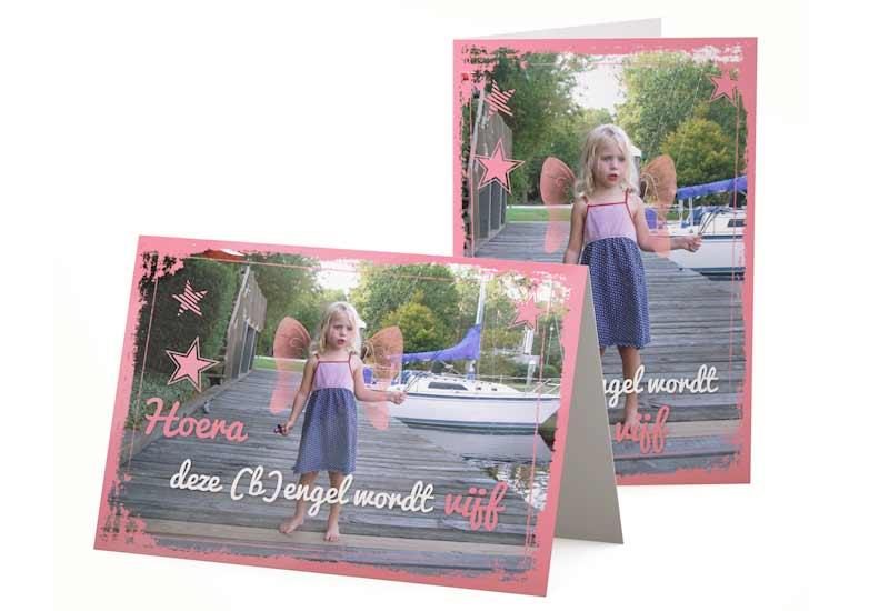 Uitnodigingskaart met foto Bengel en Engel