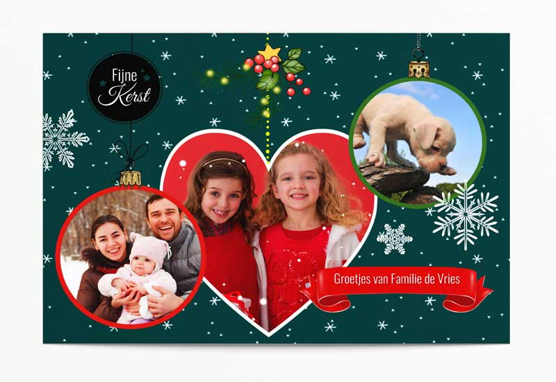 Kerstkaart met 3 foto\'s