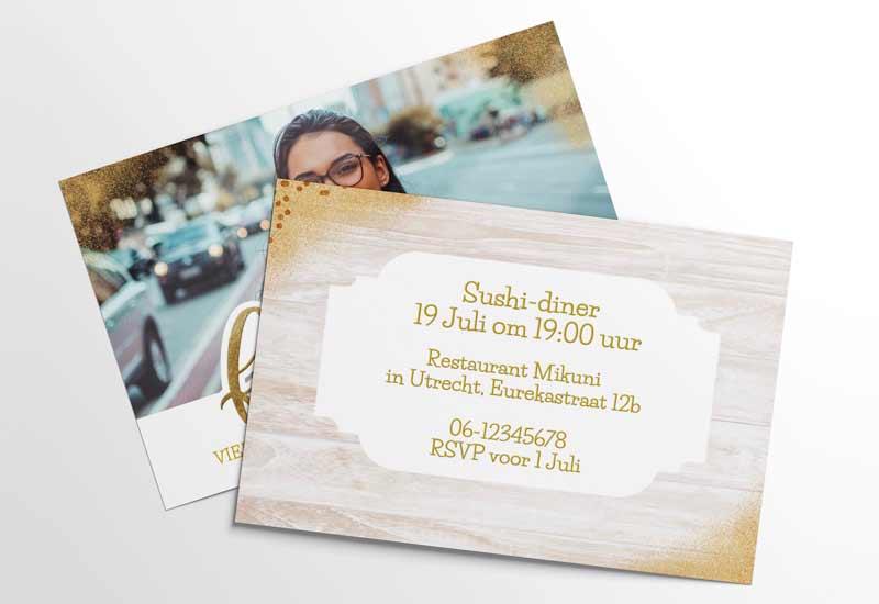 Sprankelende uitnodiging voor feestje