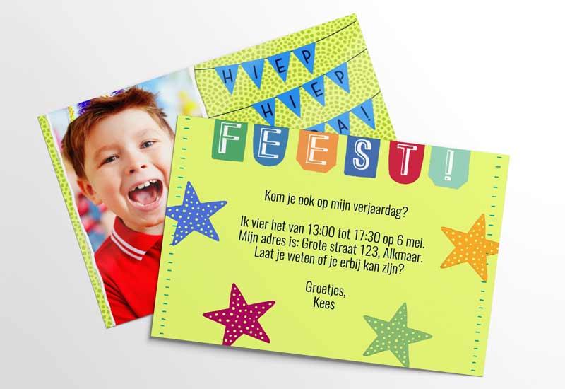Feestkaart met foto en warme kleuren
