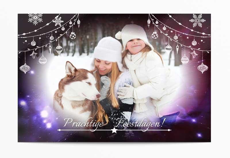 Kerstkaart met nachthemel - Prachtige feestdagen