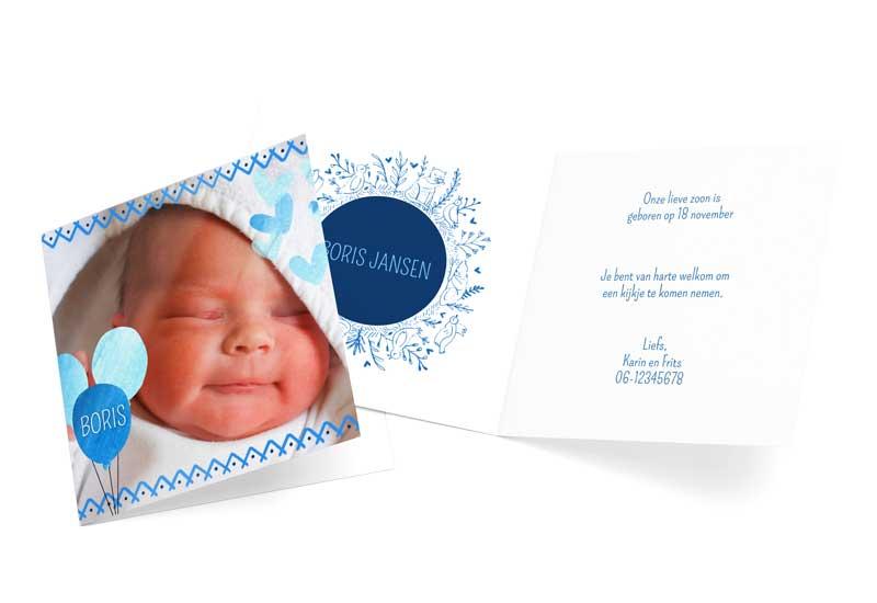 Geboortekaartje jongen met lichtblauwe ballonnen