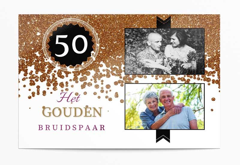 Uitnodiging Gouden Jubileum met twee foto\'s
