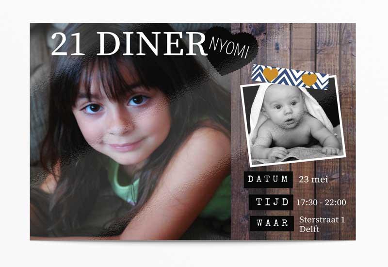 Hippe 21 diner uitnodiging