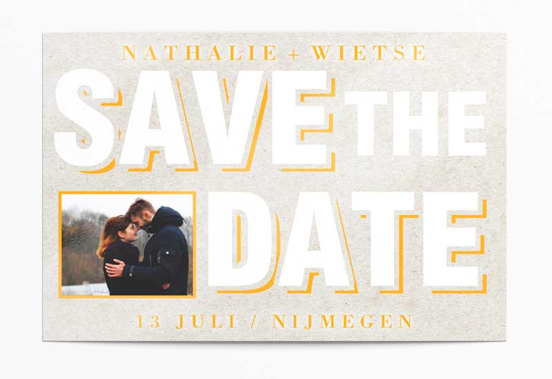 Hippe Save-The-Date kaart