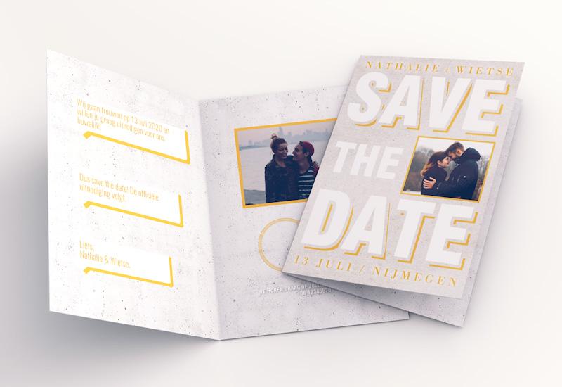 Hippe Save-The-Date kaart