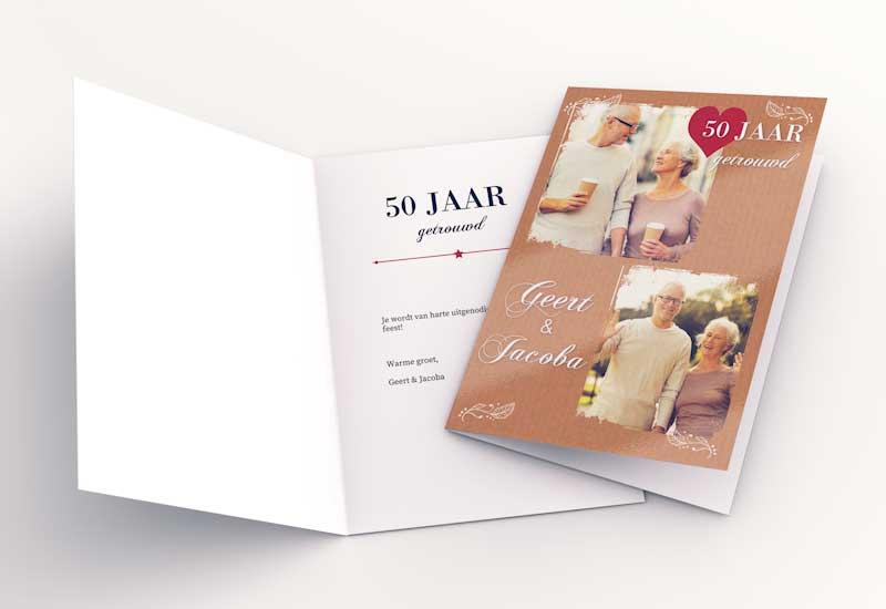 Uitnodigings 50 jarig jubileum met twee foto\'s