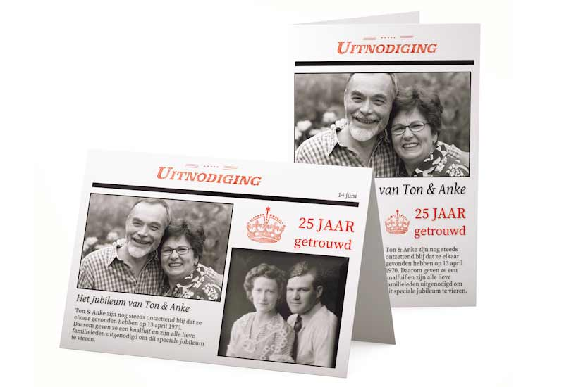 Jubileumuitnodiging in stijl van krantenartikel