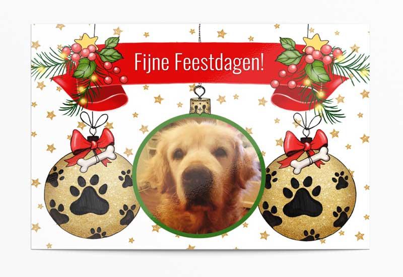 Kerstkaart voor de hondenliefhebber - We Waf You a Merry Christmas