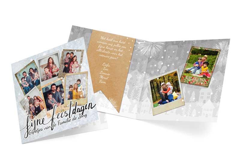 Kerstkaart met collage van polaroidfoto\'s