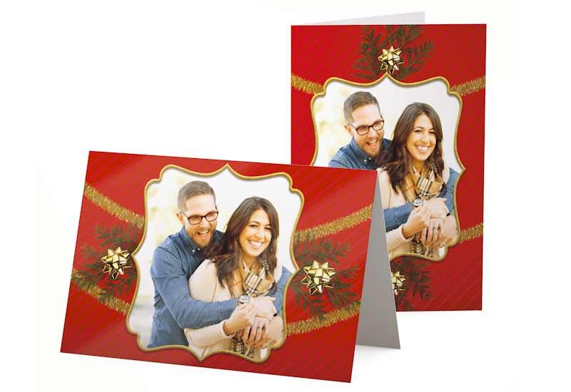 Kerstkaart met foto in gouden lijst