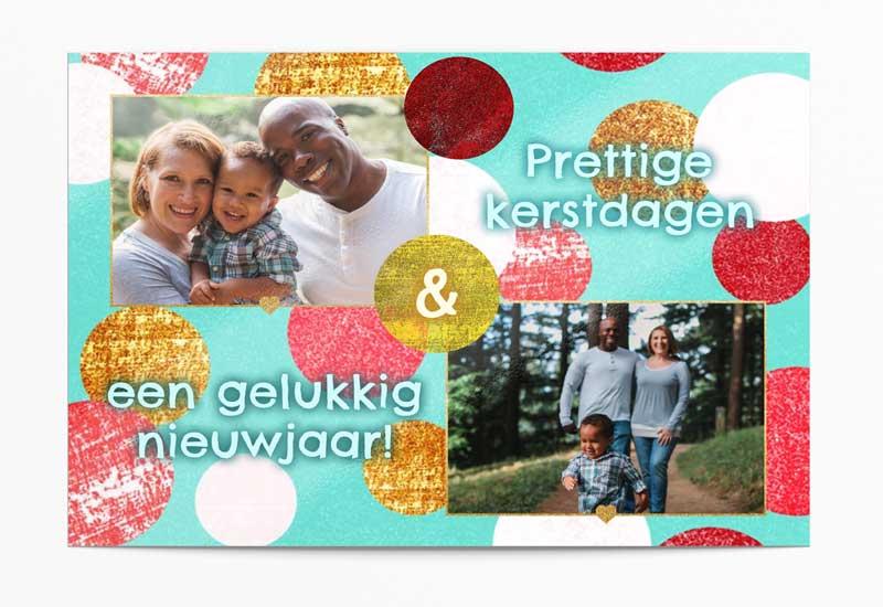 Vrolijke kerstkaart met 2 foto\'s en bolletjespatroon