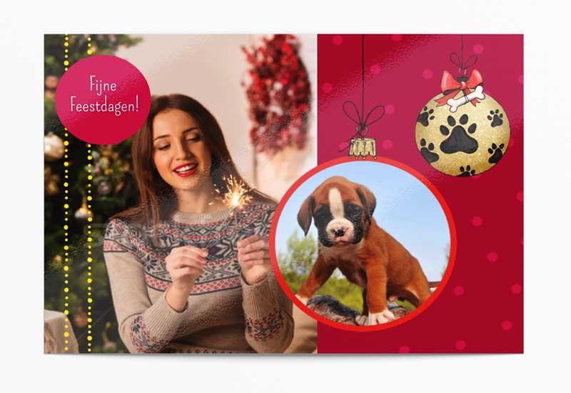 Kerstkaart met grote foto en foto van hondje