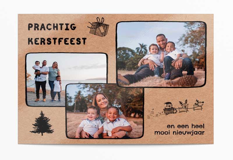 Kerstkaart in kartonstijl met 3 foto\'s