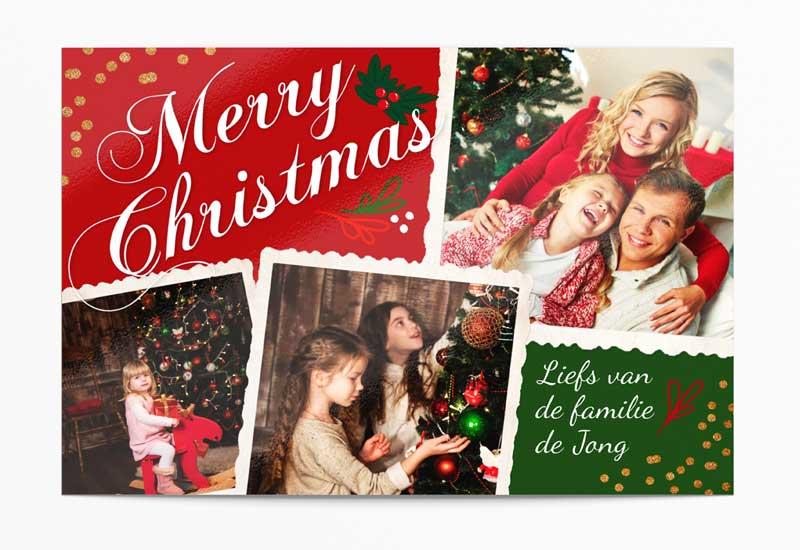 Klassieke Merry Christmas-kaart met meer foto\'s