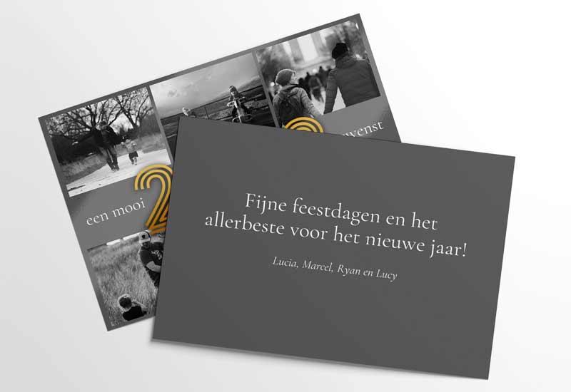 Nieuwjaarskaart 6 zwart-wit foto\'s en gouden jaartal