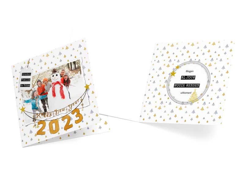 Nieuwjaarskaart met gouden jaartal