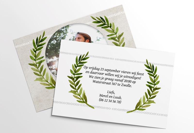 Pastel Uitnodiging Plantmotief
