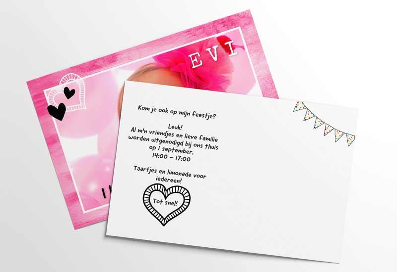 Rose uitnodiging met foto en hartjes