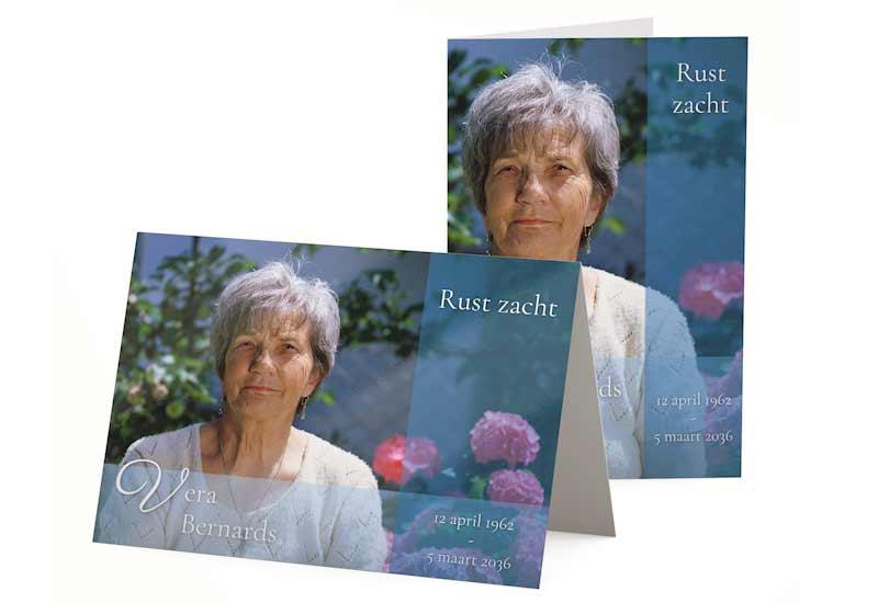 Rouwbedankkaart met stijlvolle kleurvlakken