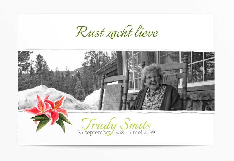 Rouwbedankkaart met bloem