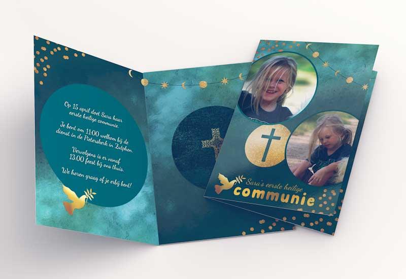 Chique communiekaart met gouden versieringen