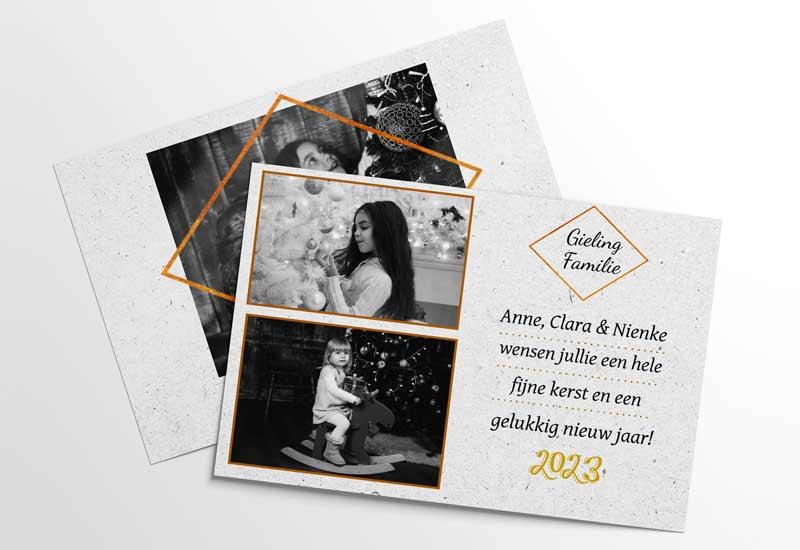 Stijlvolle kerstkaart met zwartwit foto
