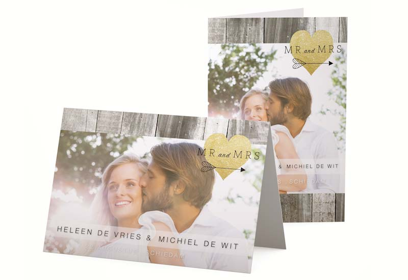 Strakke trouwkaart Mr and Mrs