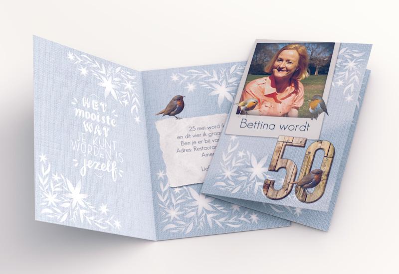 Verjaardagskaart met houten cijfers