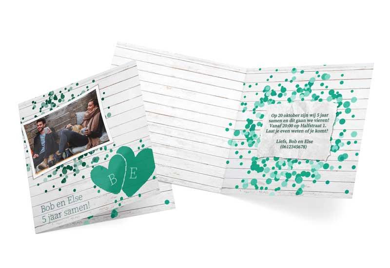 Jubileumkaart met spetters en hartjes