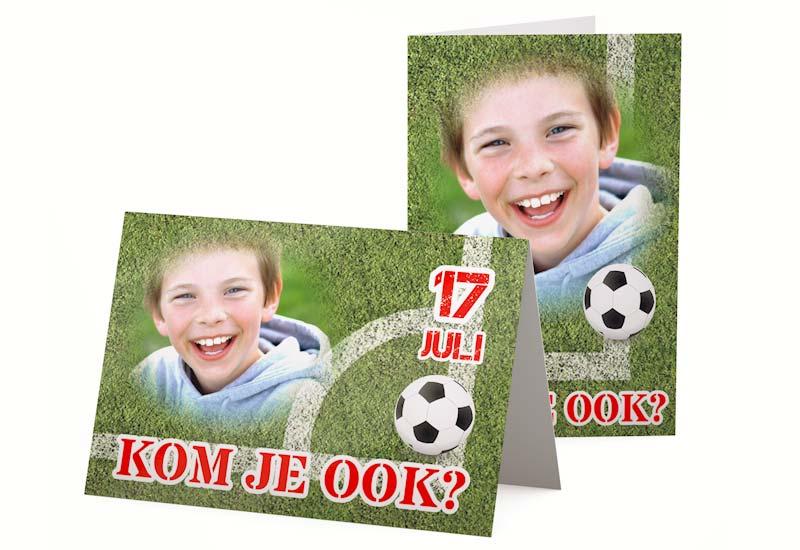 Uitnodiging kinderfeestje in voetbalstijl