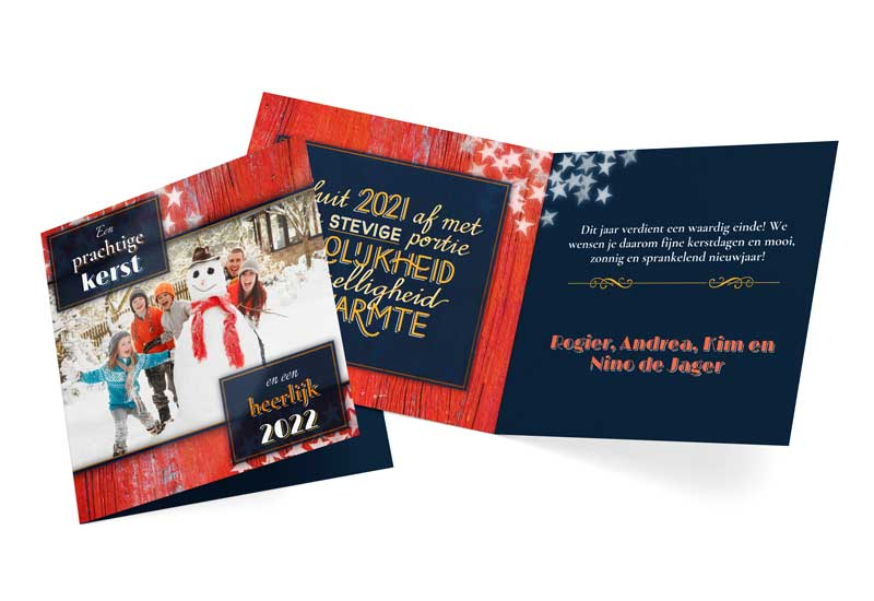 Vrolijke artdeco kerst- en nieuwjaarskaart