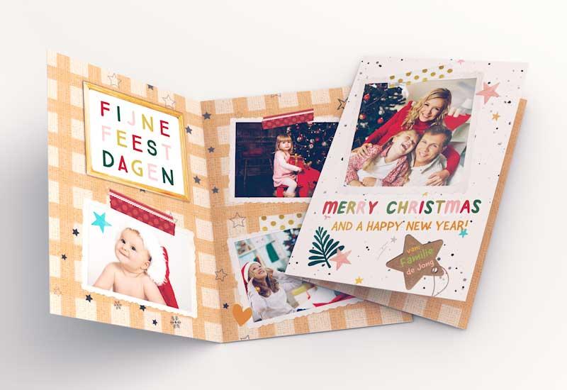 Vrolijke kerstkaart met foto\'s en doodles