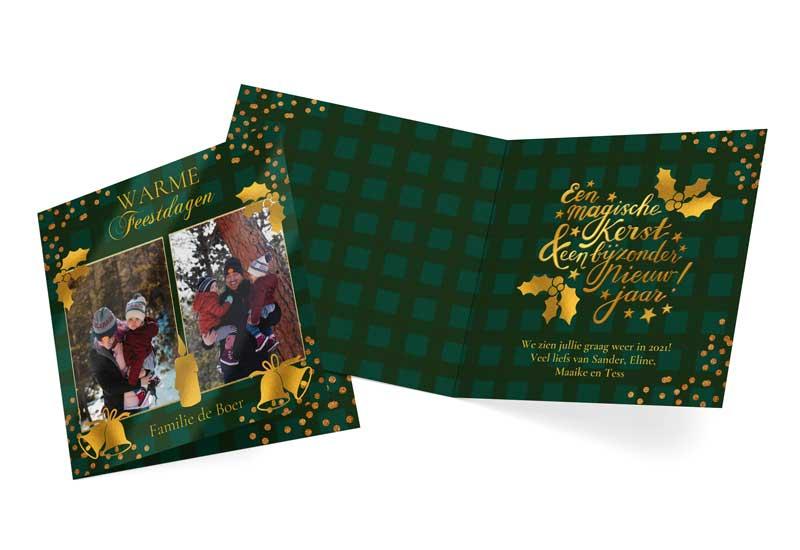 Warme feestdagen kerstkaart met gouden elementen