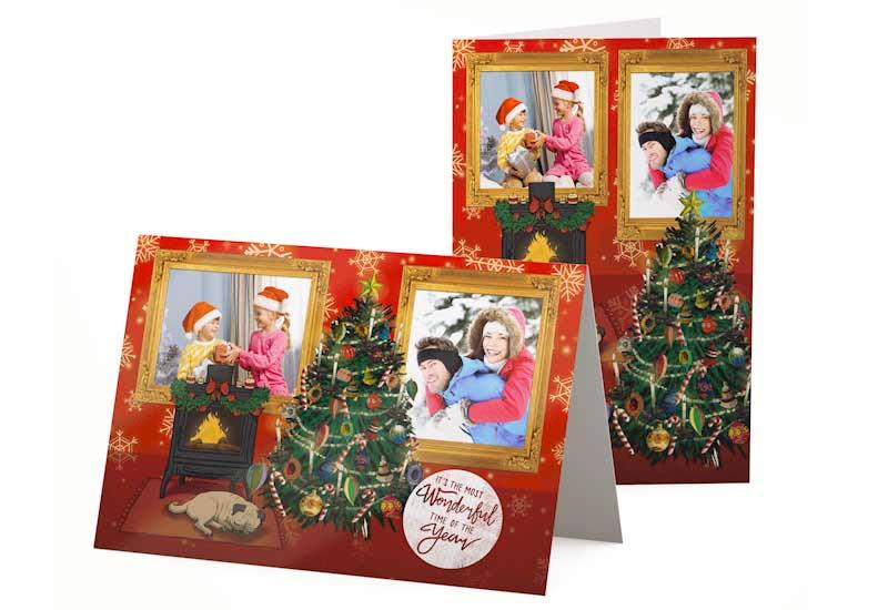 Warme kerstkaart met 2 fotoschilderijtjes