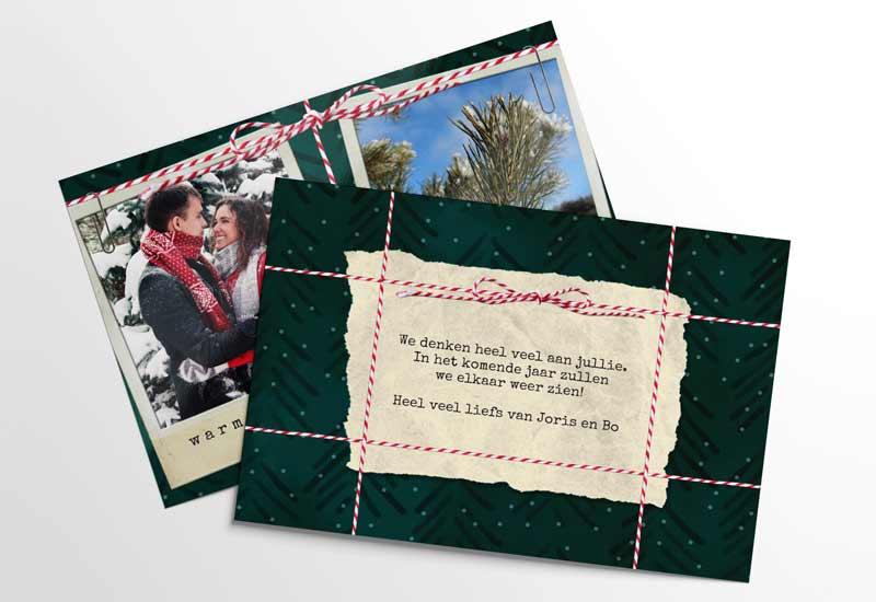 Kerstkaart Warme wensen en liefs met 2 foto\'s