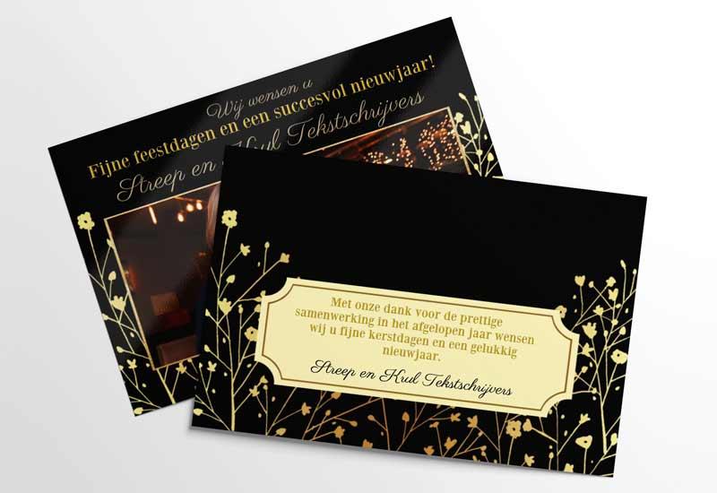 Zakelijke fotokaart met gouden motief op donkere achtergrond