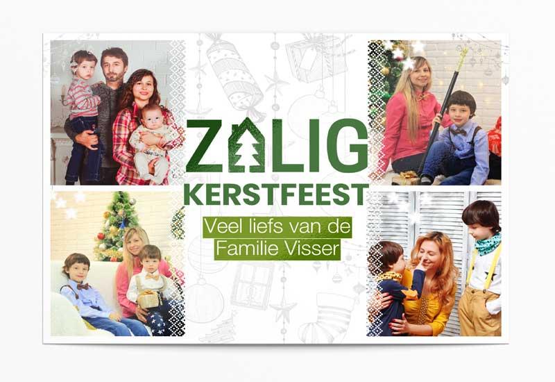 Zalig Kerstfeest-kaart met 4 foto\'s