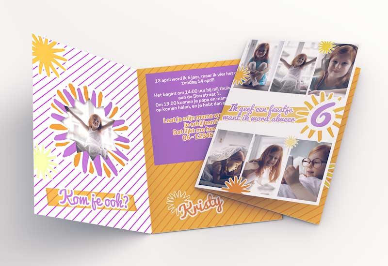 Zonnige verjaardagskaart met 6 foto\'s